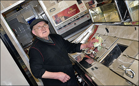 Raymo Basini of Louis' Fish Bar in Ebbw Vale